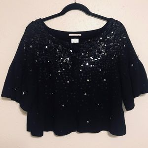 LAROK BOHO SEQUINED BLACK CARDIGAN SZ L